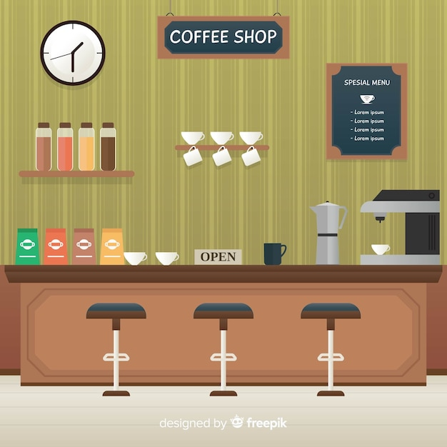 Elegant coffee shop interior with flat design Free Vector