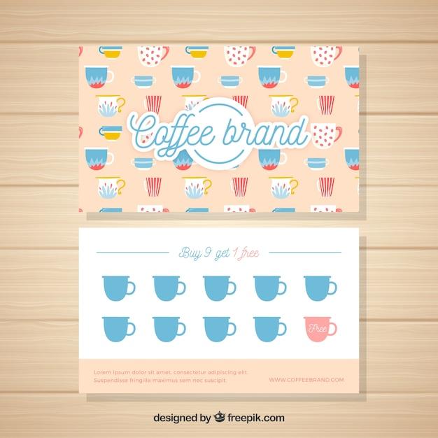 Elegant coffee shop loyalty card template Free Vector