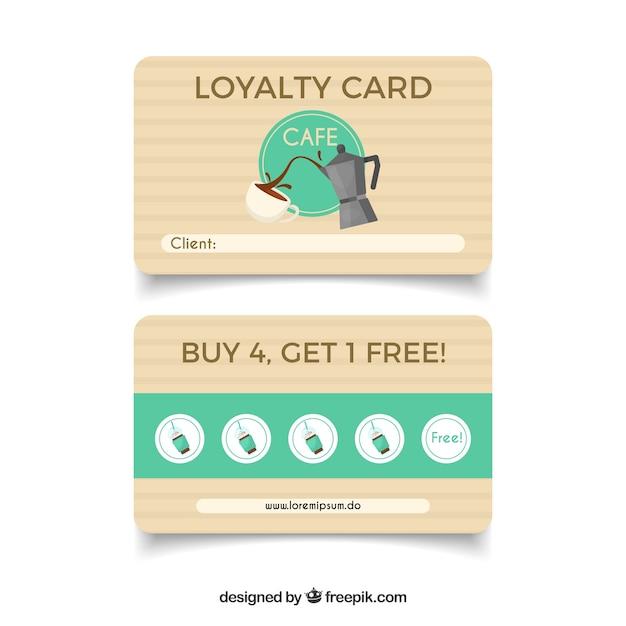 Элегантный шаблон карты лояльности кофейни Бесплатные векторы
