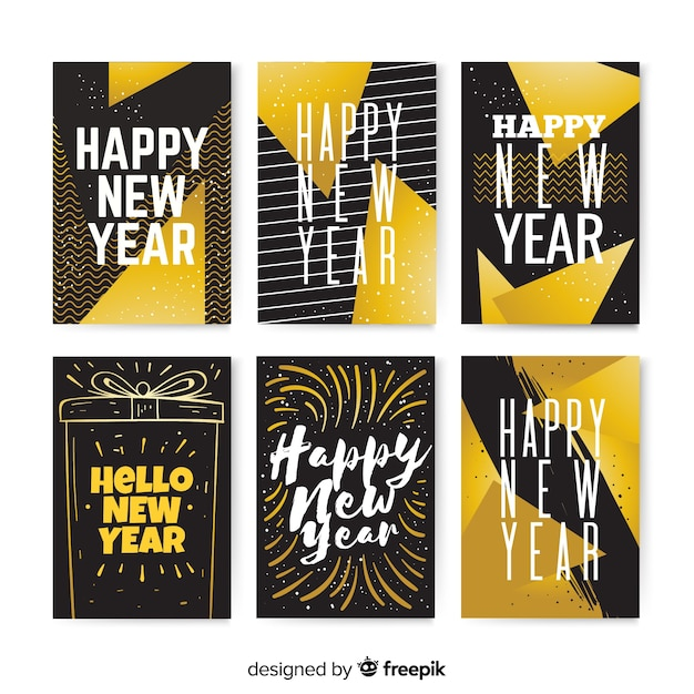 Elegant collection of golden new year 2019 cards Free Vector
