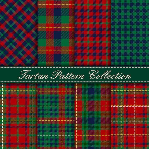 Элегантная коллекция темно-зеленого сине-красного тартана бесшовные модели Premium векторы