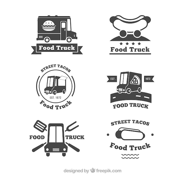 Elegant collection of vintage food truck logos