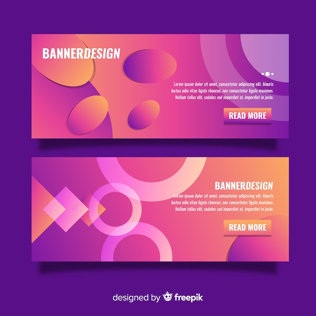 Elegant colorful banners with gradient style Free Vector