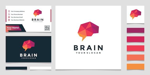 名刺デザインのエレガントなカラフルな脳のロゴ Premiumベクター