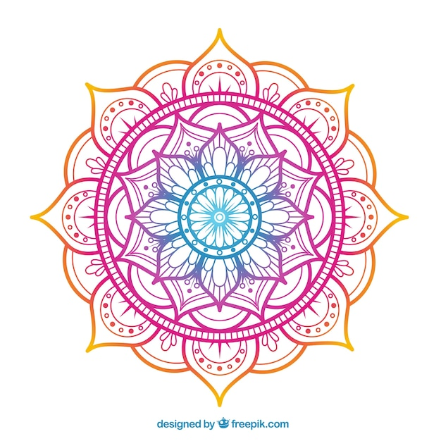 Elegant colorful mandala background Free Vector