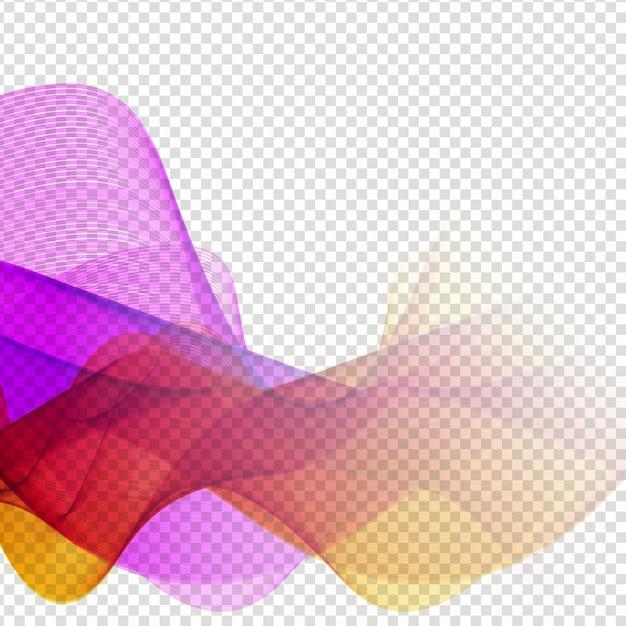 Elegant Colorful Wave Design On Transparent Background