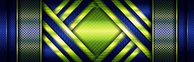 Элегантная концепция блестящего зеленого цвета со светящимися частицами на темно-синем Premium векторы