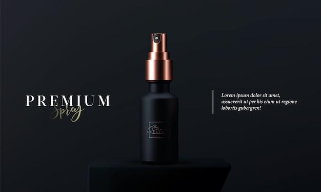 黒の背景にスキンケアのためのエレガントな化粧品スプレー。リアルな3dブラックとゴールドのマットなコスメティックスプレー。広告のための美しい化粧品テンプレート。化粧品ブランド。 Premiumベクター