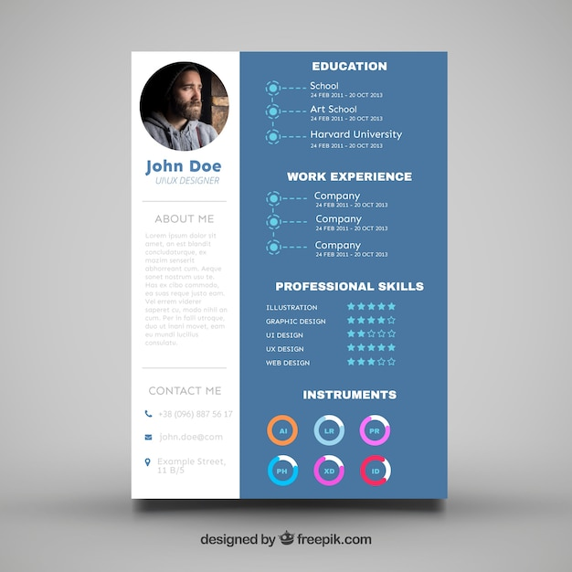 elegant cv template with graphics vector