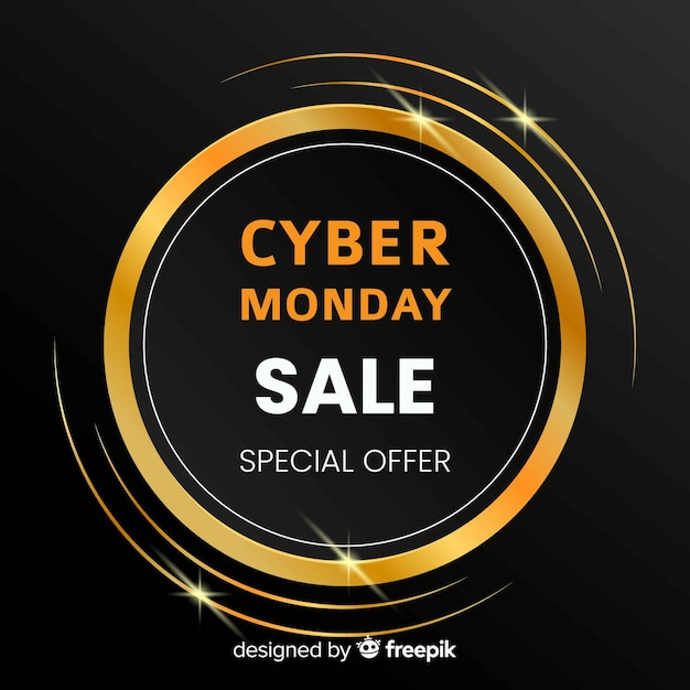 Elegant cyber monday sale background with golden text Free Vector