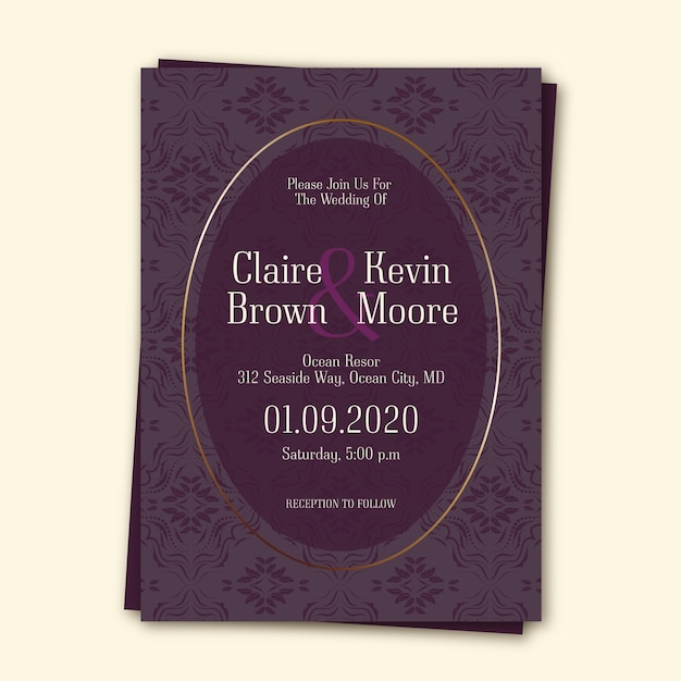 Elegant damask wedding invitation template Free Vector