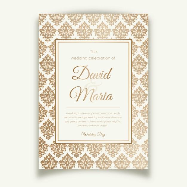 Elegant damask wedding invitation template Free Vector