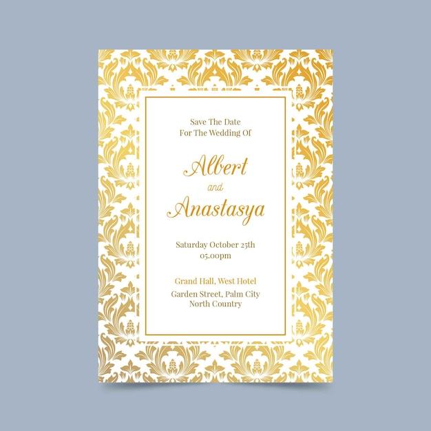 Elegant damask wedding invitation Free Vector