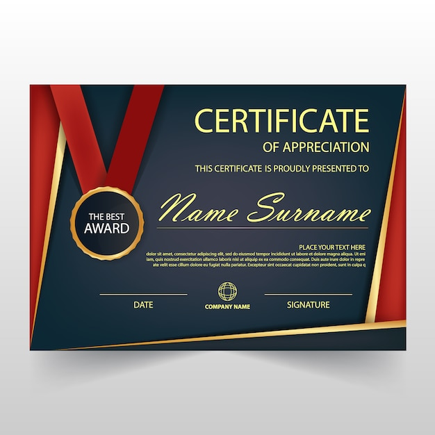 Elegant dark and red horizontal certificate illustration
