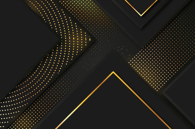 Elegant dark background with gold details theme Free Vector