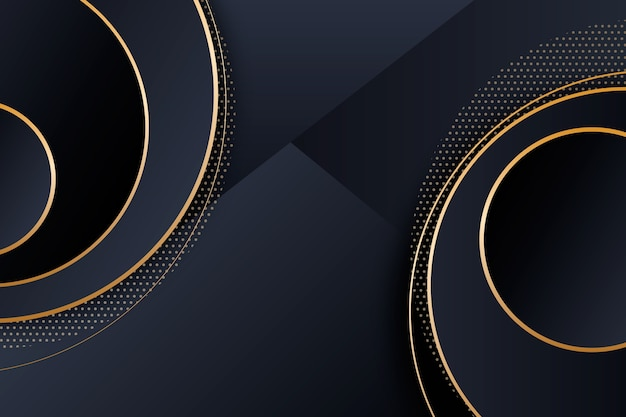Elegant dark background with golden circles Free Vector