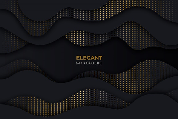 Elegant dark background  with golden details Free Vector