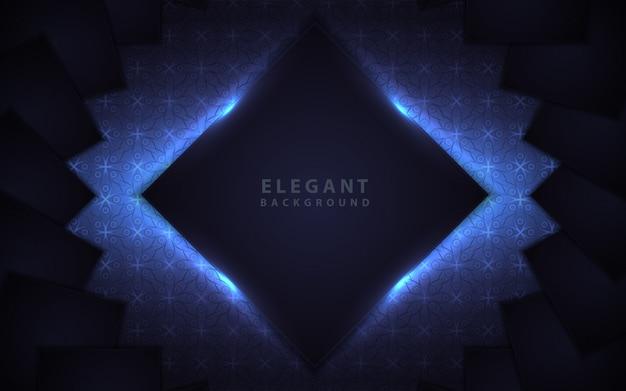 Elegant dark blue frame with light decoration Premium Vector
