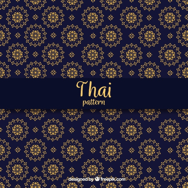 Elegant dark blue thai pattern Free Vector