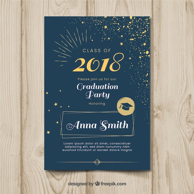 Elegant dark graduation party invitation Free Vector