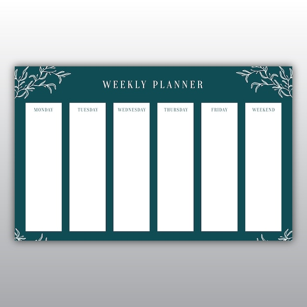 Elegant dark green weekly planner