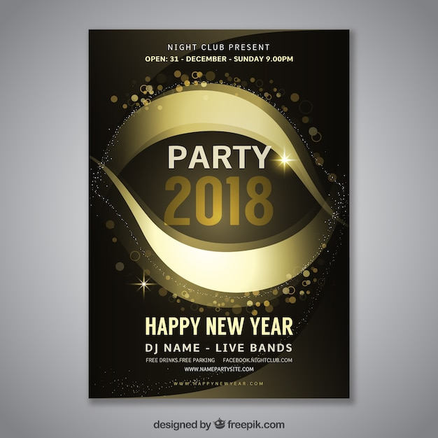 Elegant Dark New Year Party Poster Template Vector  Free Download