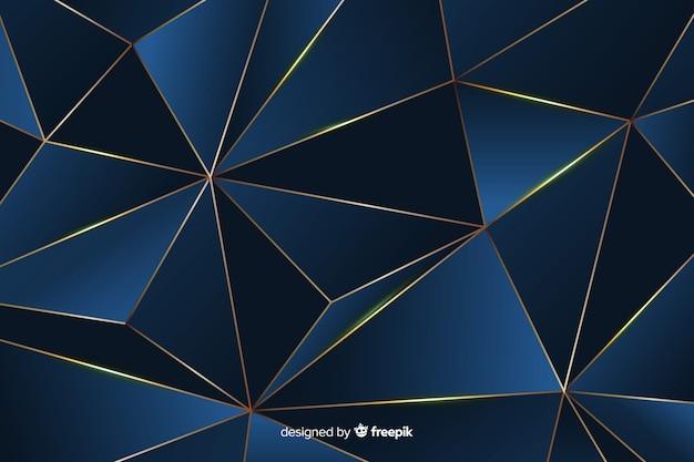 Elegant dark polygonal background, blue color Free Vector