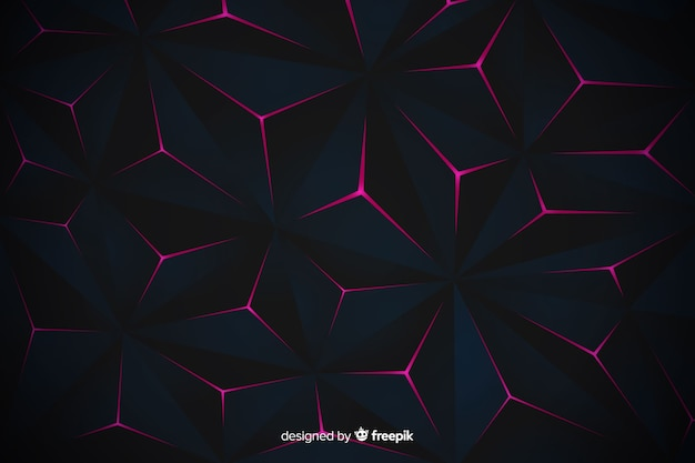 Elegant dark polygonal background design Free Vector