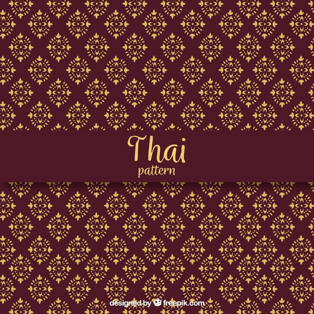 Elegant dark red thai pattern Free Vector