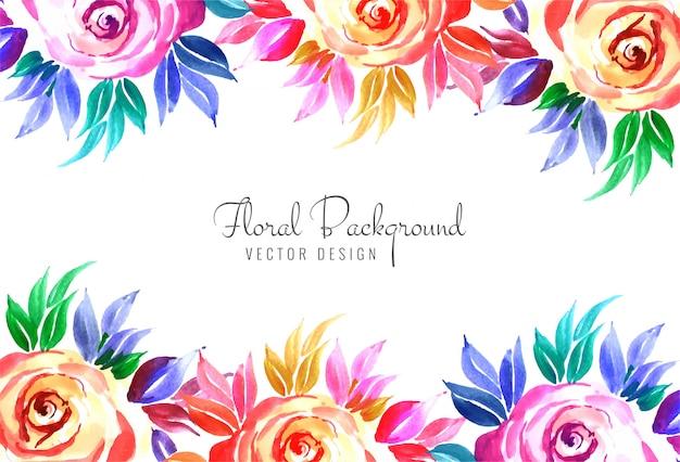 Elegant decorative colorful floral wedding card background Free Vector