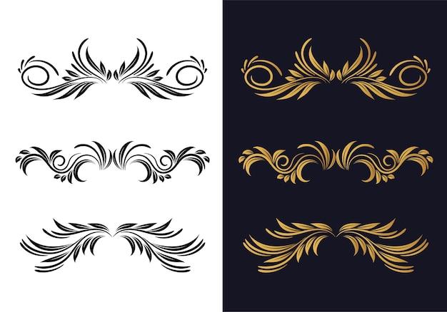 Set design decorativo floreale ornamentale decorativo elegante Vettore gratuito