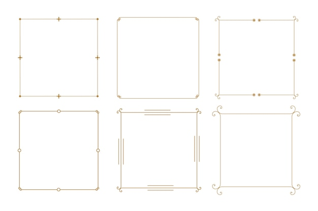 Elegant decorative vintage frame borders set of six Free Vector