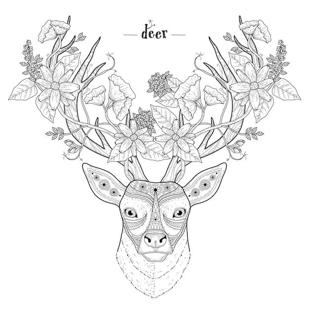 絶妙なスタイルのエレガントな鹿の頭の着色のページ Premiumベクター