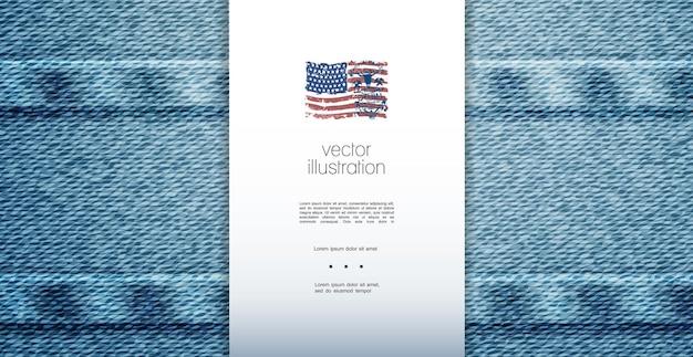 青い美しい伝統的なジーンズのテクスチャ背景イラストとエレガントなデニムプレミアムテンプレート 無料ベクター