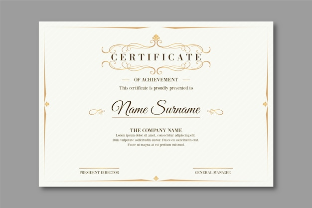 Elegant design certificate template Free Vector