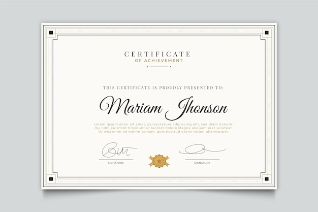 Элегантный дизайн шаблона сертификата Бесплатные векторы
