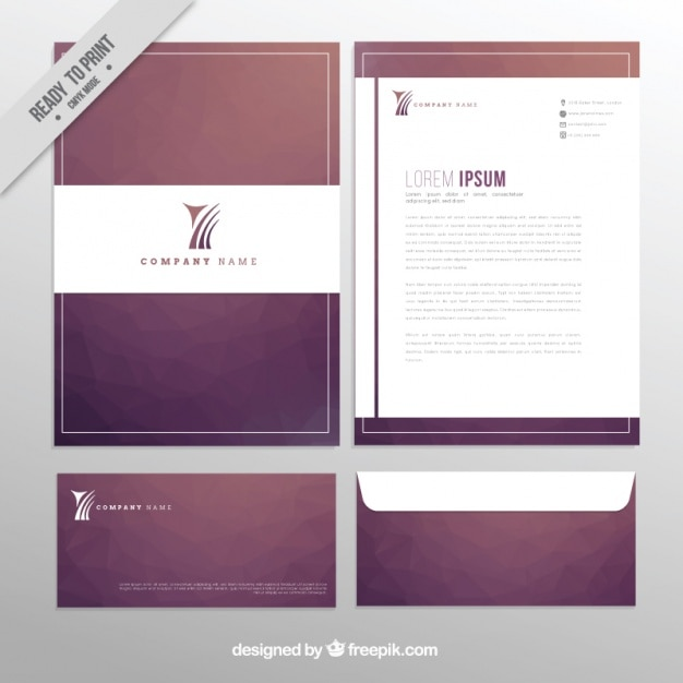 Elegant Professional Corporate Letterhead Template 000890: Elegant Design Of Business Stationery Vector