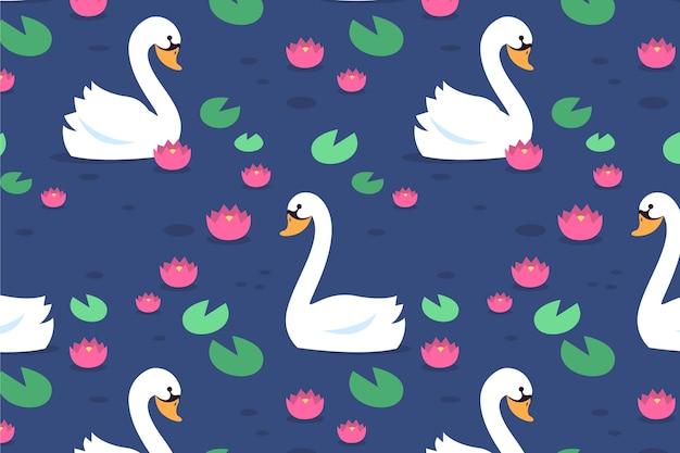 Elegant design swan pattern Free Vector