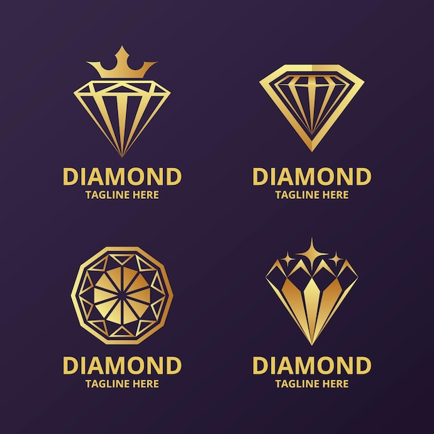 Elegant diamond logo collection Premium Vector