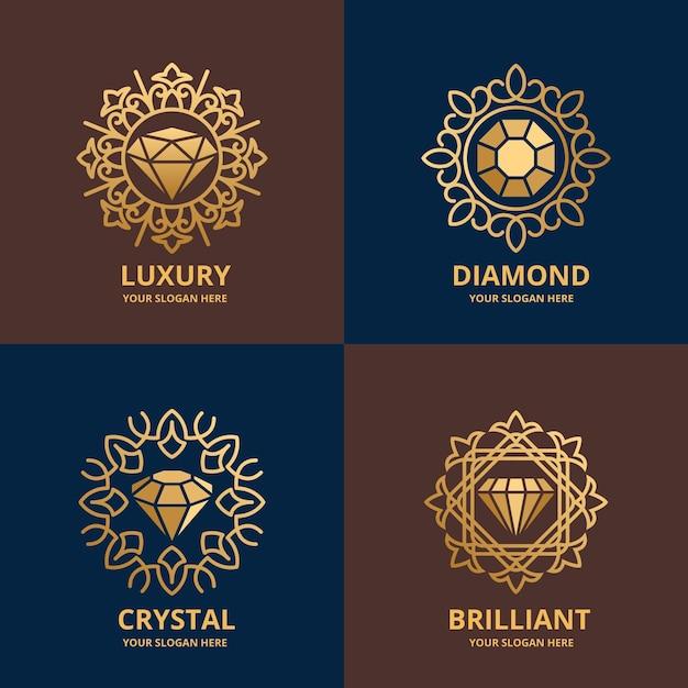 Elegant diamond logo pack Free Vector
