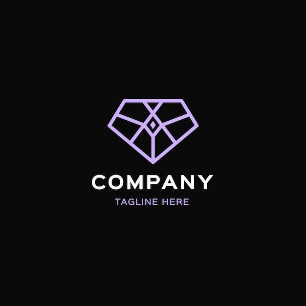 Элегантный шаблон с бриллиантом и логотипом Бесплатные векторы