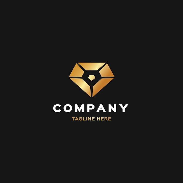 Элегантный логотип с бриллиантом и слоганом Premium векторы