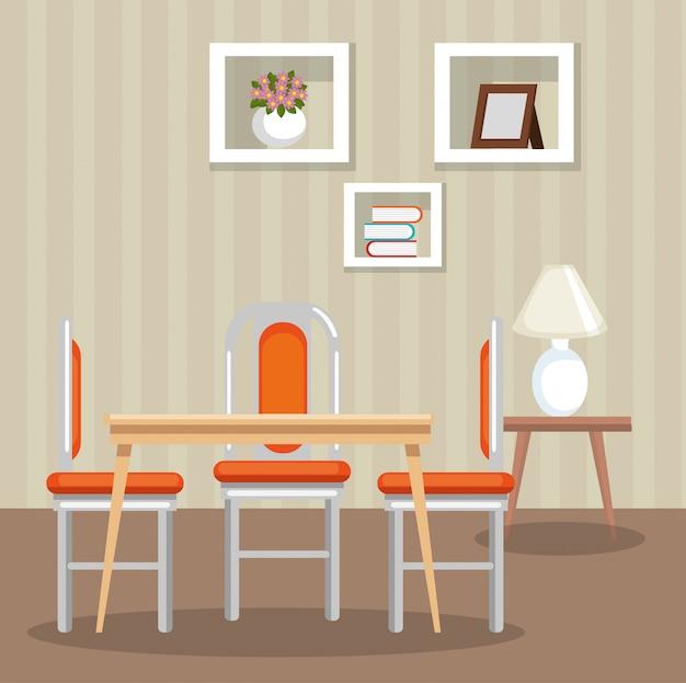 Elegant dinning room scene Free Vector