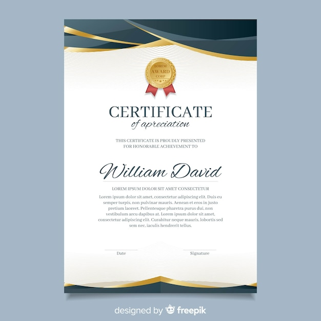 Elegant diploma template with golden elements Free Vector