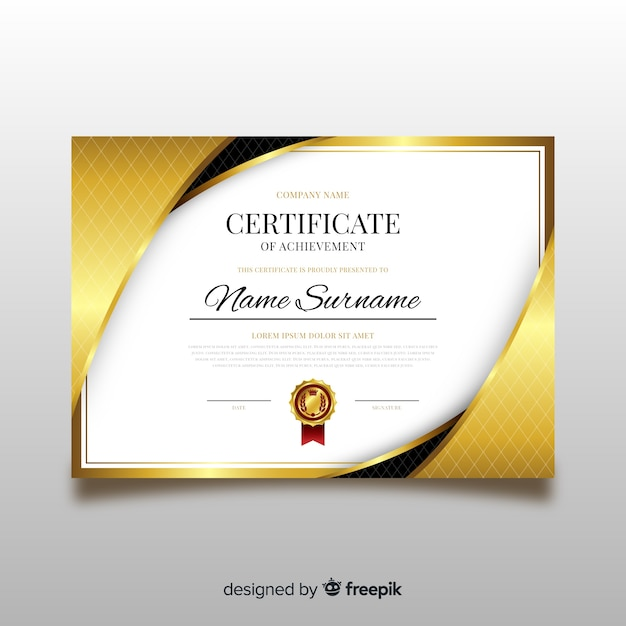 elegant diploma template with golden elements vector free download