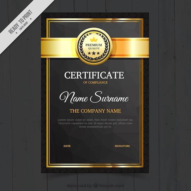 Элегантный диплом с золотыми вставками Бесплатные векторы