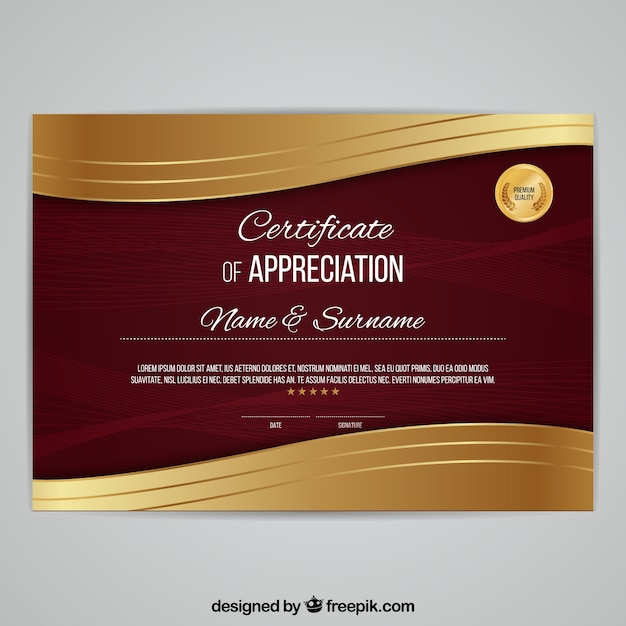 Elegant diploma with golden waves