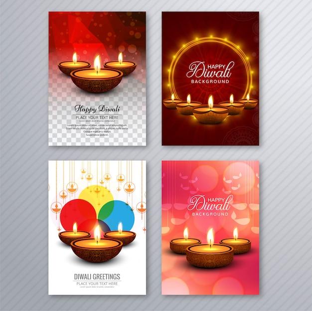 Elegant diwali greeting card template brochure set Premium Vector