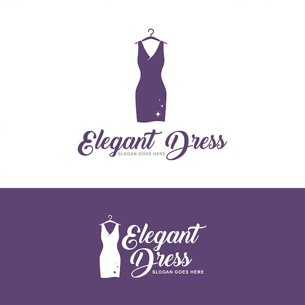 Elegant dress logo Premium Vector