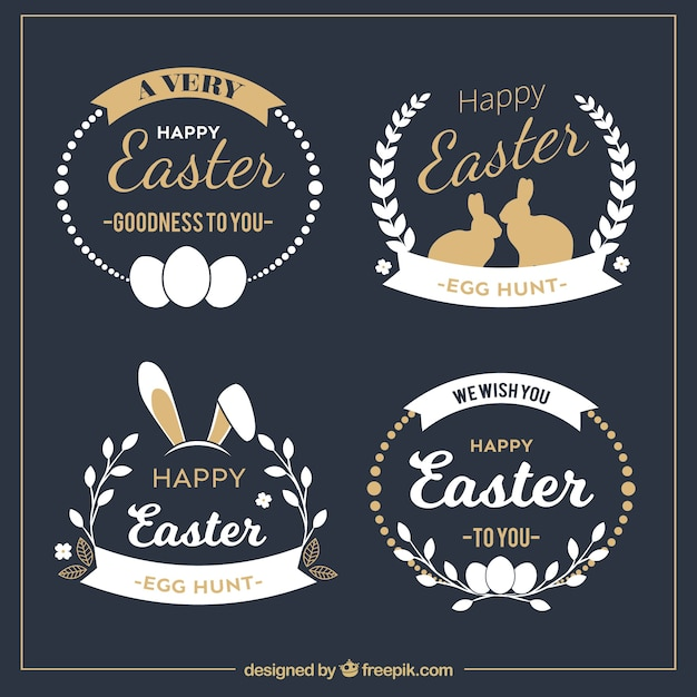 Elegant easter badge collection Free Vector
